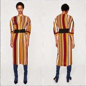 NWT ZARA STUDIO MIDI STRIPED DRESS WITH BELT